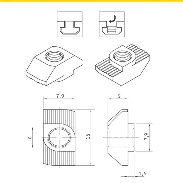 Hammermuttern für T-Nuten Nutenschiene Profil 8 Stahl zn NF