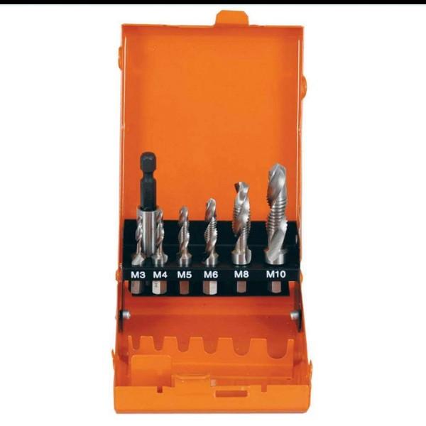 Kombigewindebohrer Bit-Set HSS-G 7-tlg in Metallkassette