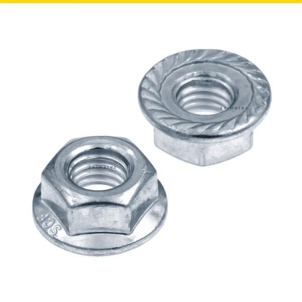 Flanschmuttern mit Sperrverzahnung Stahl verzinkt DIN 6923