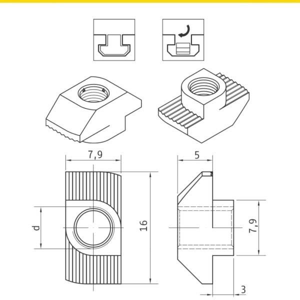 Hammermuttern für T-Nuten Nutenschiene Profil 8 Stahl zn HF