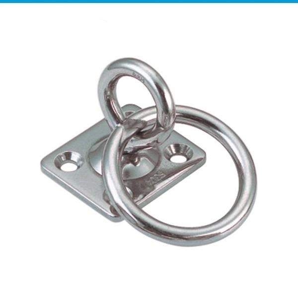 Augplatte eckig mit Wirbel und Ring aus Edelstahl A2 #8397